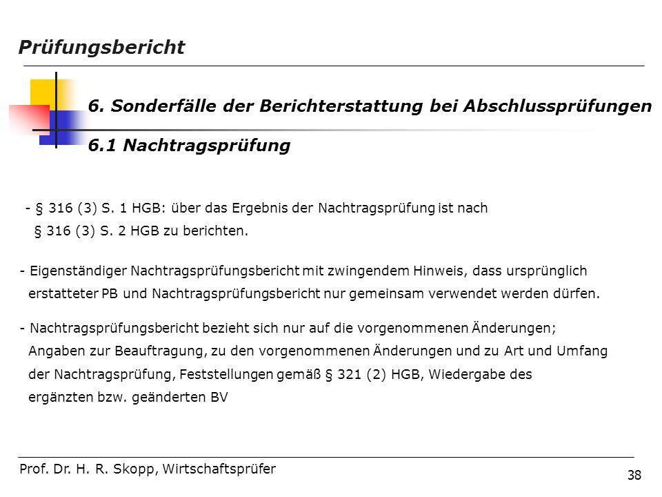 Prüfungsbericht 6. Sonderfälle der Berichterstattung bei Abschlussprüfungen. 6.1 Nachtragsprüfung.