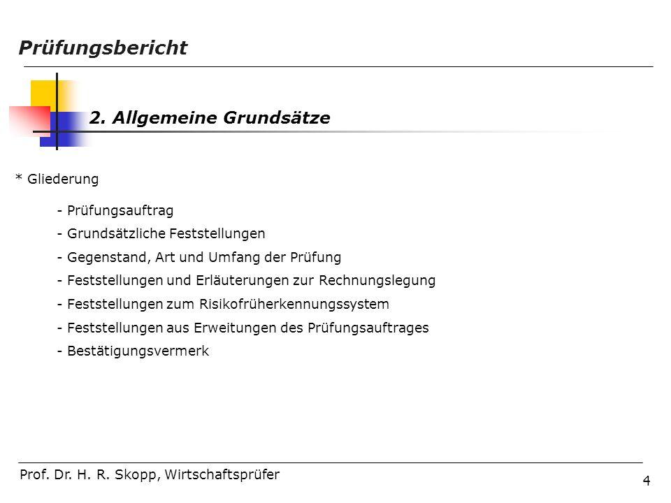 Prüfungsbericht 2. Allgemeine Grundsätze * Gliederung Prüfungsauftrag