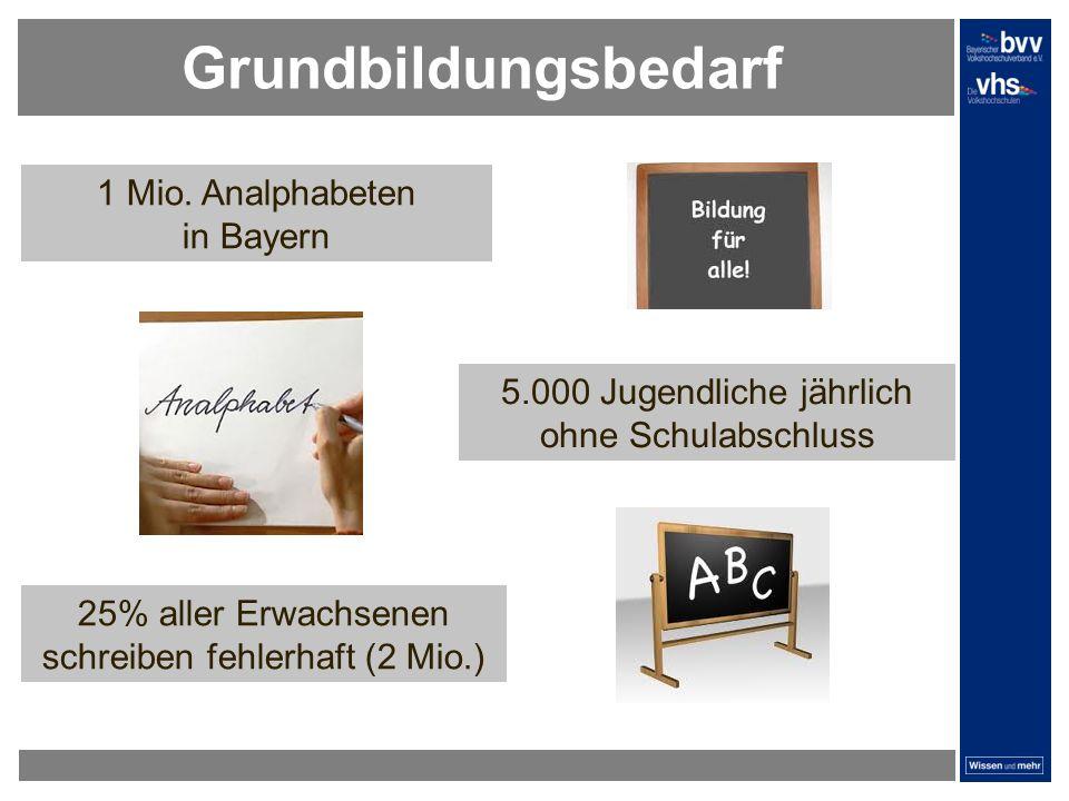 Grundbildungsbedarf 1 Mio. Analphabeten in Bayern