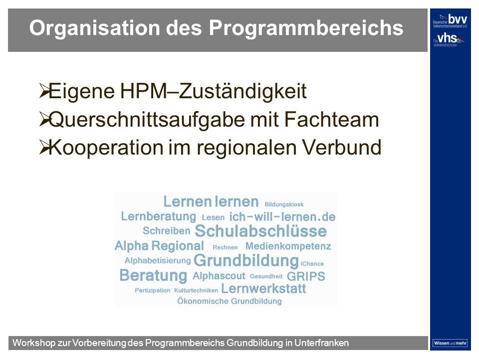 Organisation des Programmbereichs