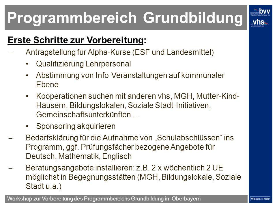 Programmbereich Grundbildung