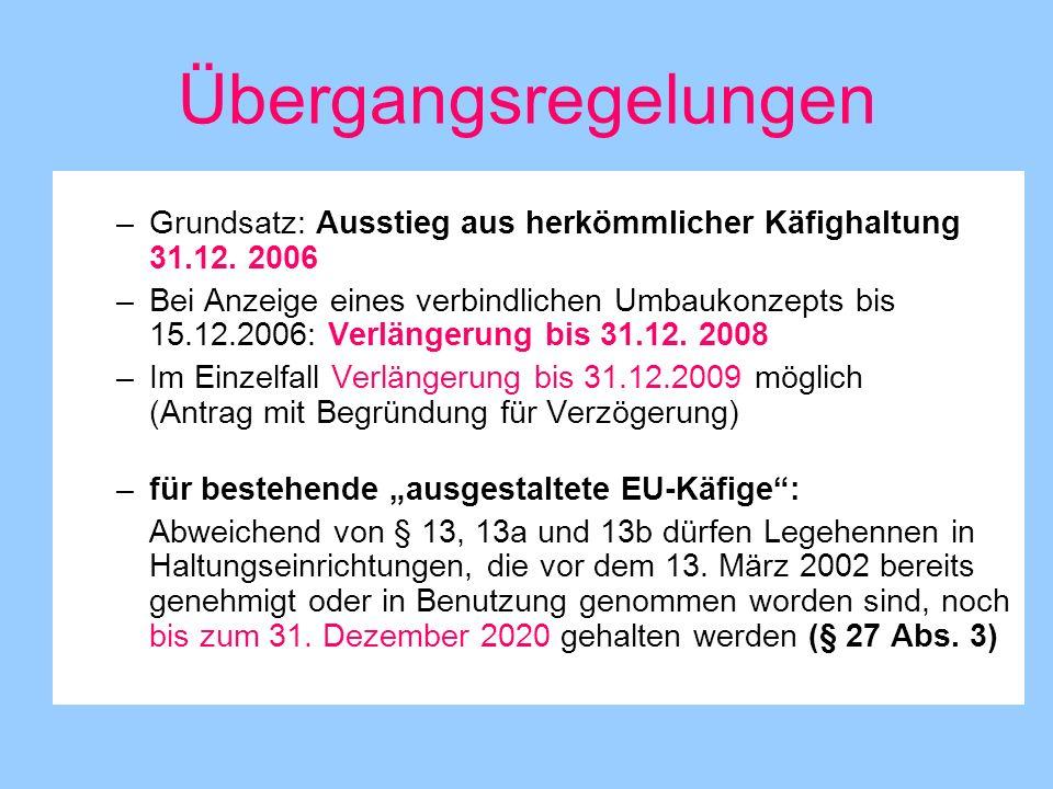 Übergangsregelungen Grundsatz: Ausstieg aus herkömmlicher Käfighaltung 31.12. 2006.