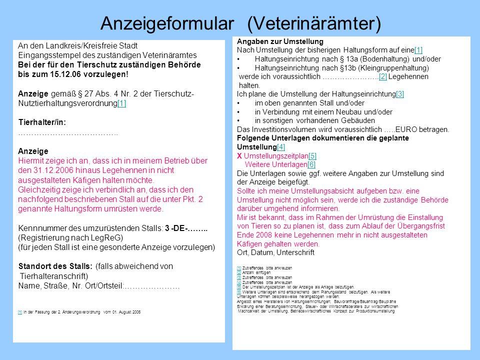 Anzeigeformular (Veterinärämter)