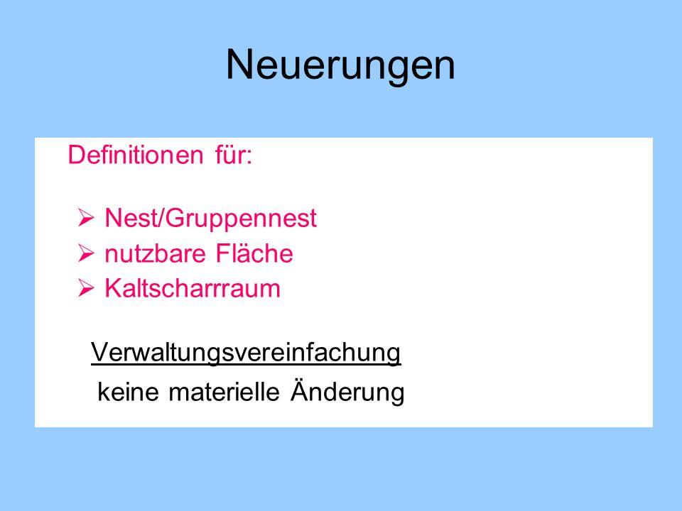 Neuerungen Nest/Gruppennest nutzbare Fläche Kaltscharrraum