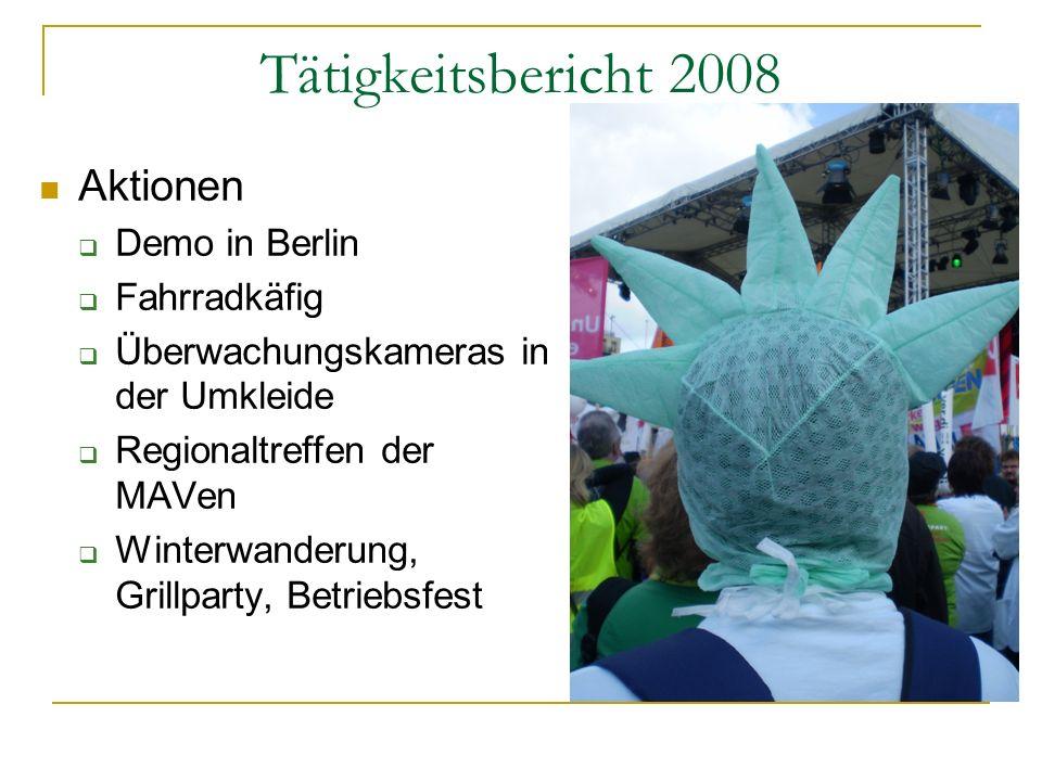 Tätigkeitsbericht 2008 Aktionen Demo in Berlin Fahrradkäfig