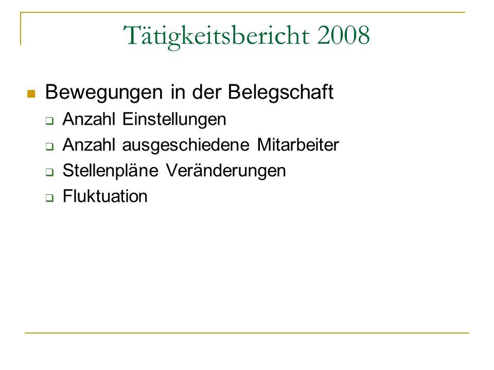 Tätigkeitsbericht 2008 Bewegungen in der Belegschaft