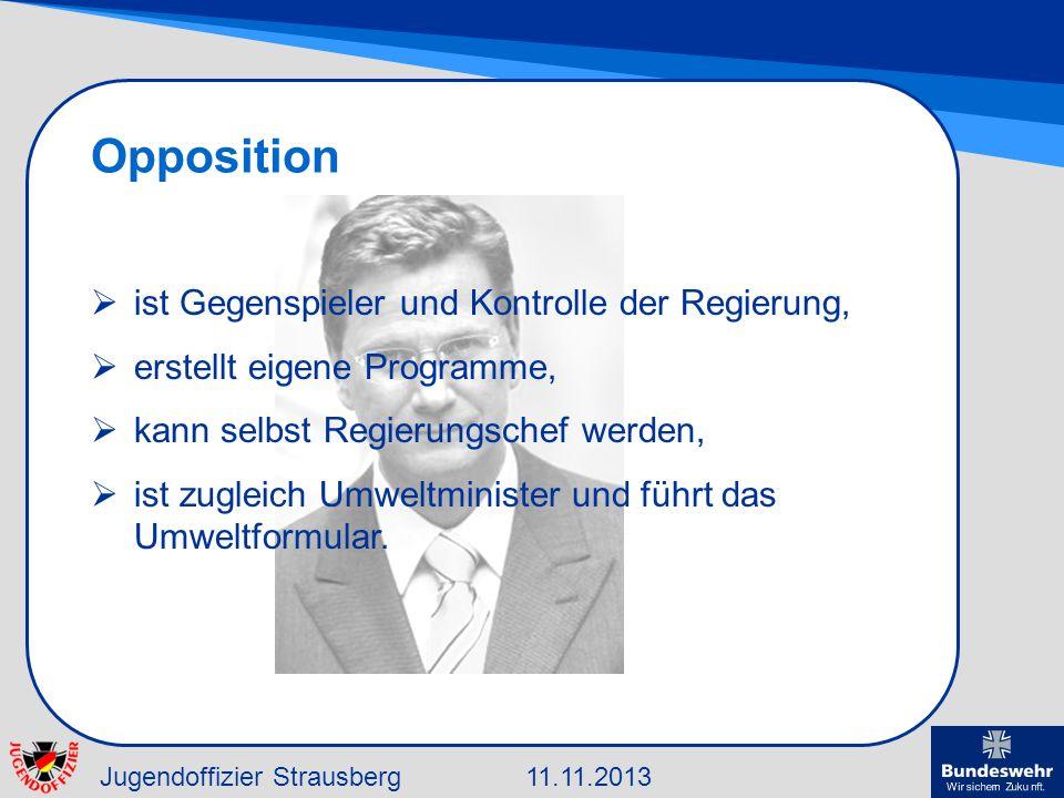 Opposition ist Gegenspieler und Kontrolle der Regierung,