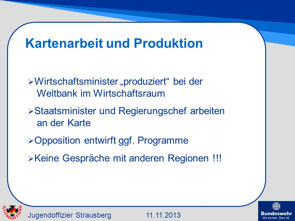 Kartenarbeit und Produktion