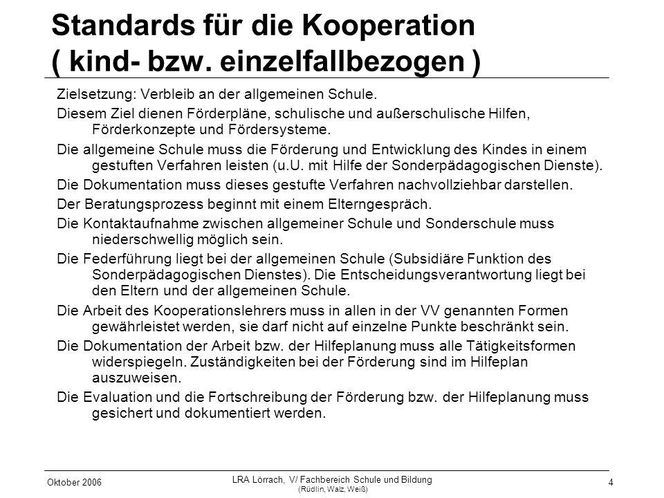 Standards für die Kooperation ( kind- bzw. einzelfallbezogen )