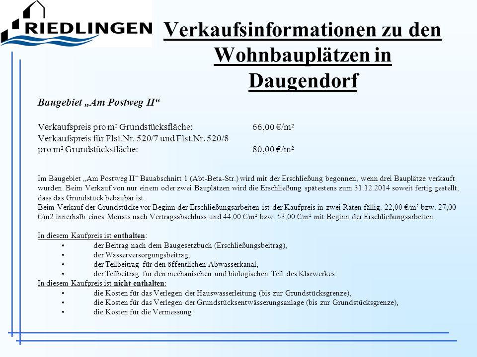 Verkaufsinformationen zu den Wohnbauplätzen in Daugendorf