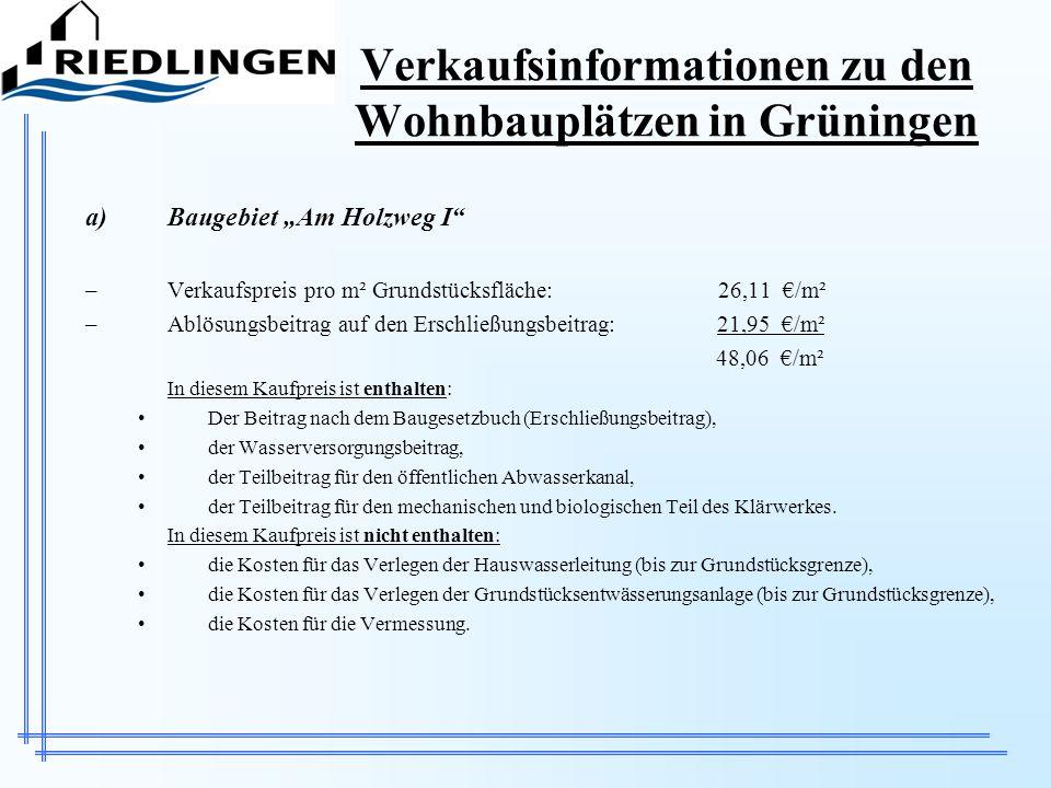 Verkaufsinformationen zu den Wohnbauplätzen in Grüningen
