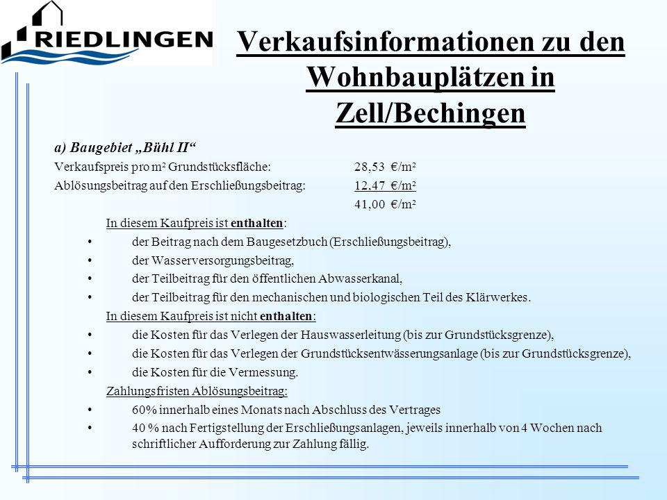 Verkaufsinformationen zu den Wohnbauplätzen in Zell/Bechingen