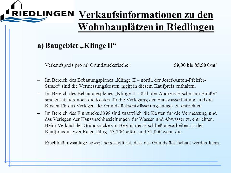 Verkaufsinformationen zu den Wohnbauplätzen in Riedlingen