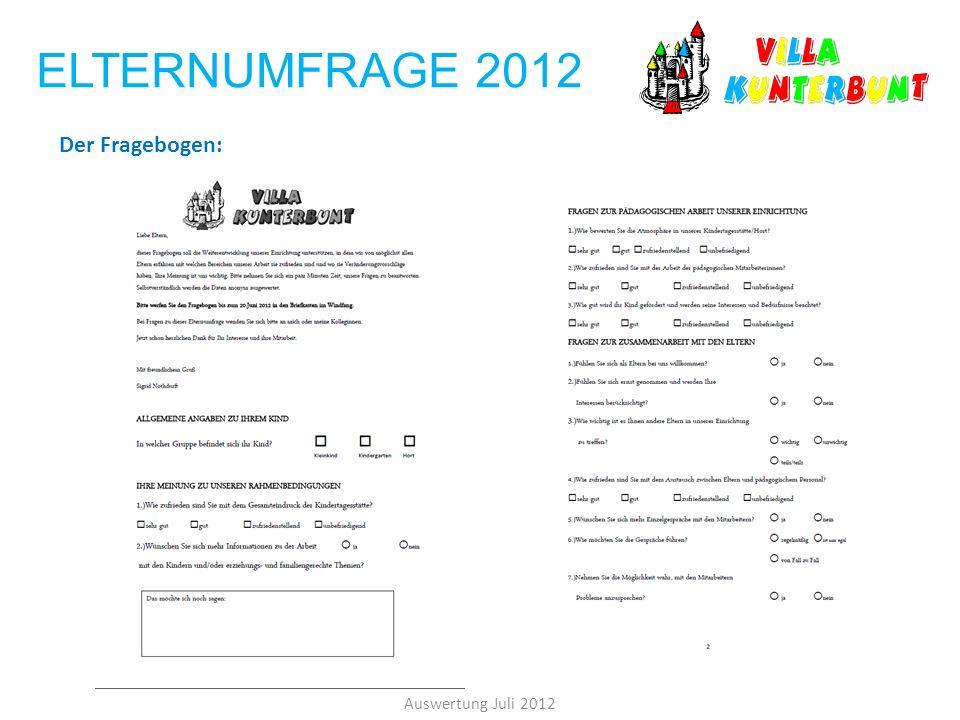 ELTERNUMFRAGE 2012 Der Fragebogen: Auswertung Juli 2012