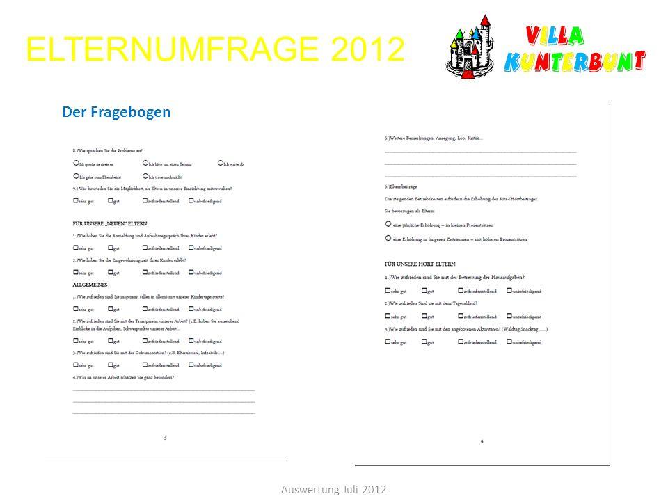 ELTERNUMFRAGE 2012 Der Fragebogen Auswertung Juli 2012