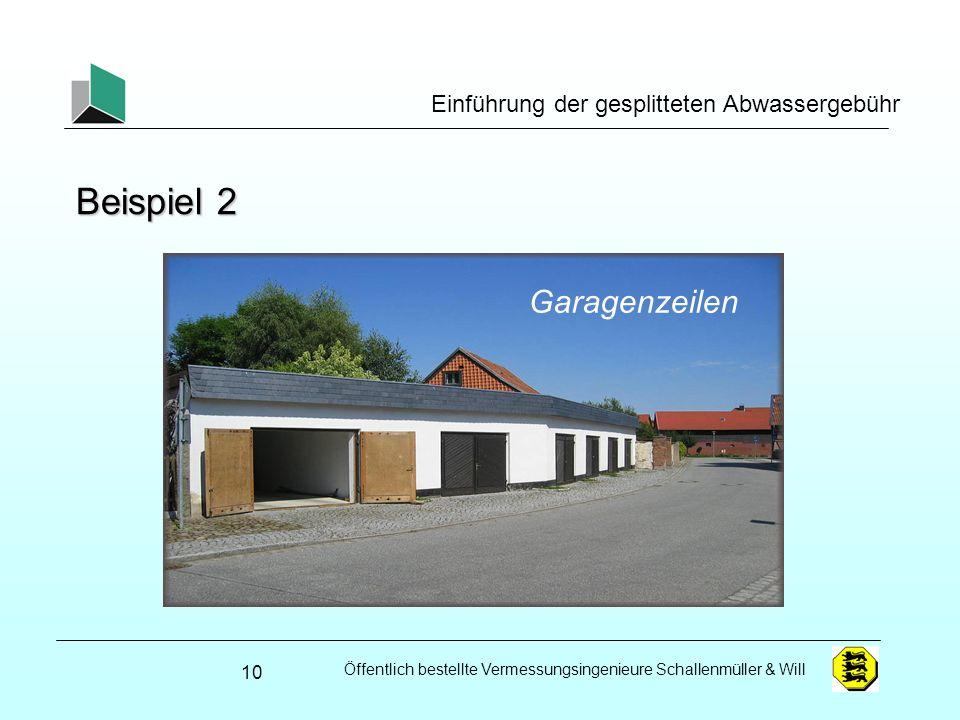 Beispiel 2 Garagenzeilen Einführung der gesplitteten Abwassergebühr