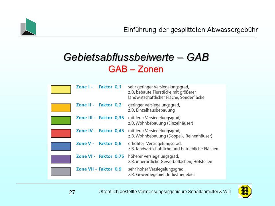 Gebietsabflussbeiwerte – GAB GAB – Zonen