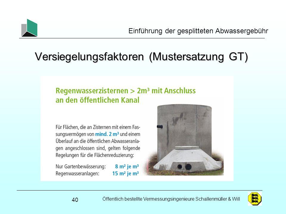 Versiegelungsfaktoren (Mustersatzung GT)
