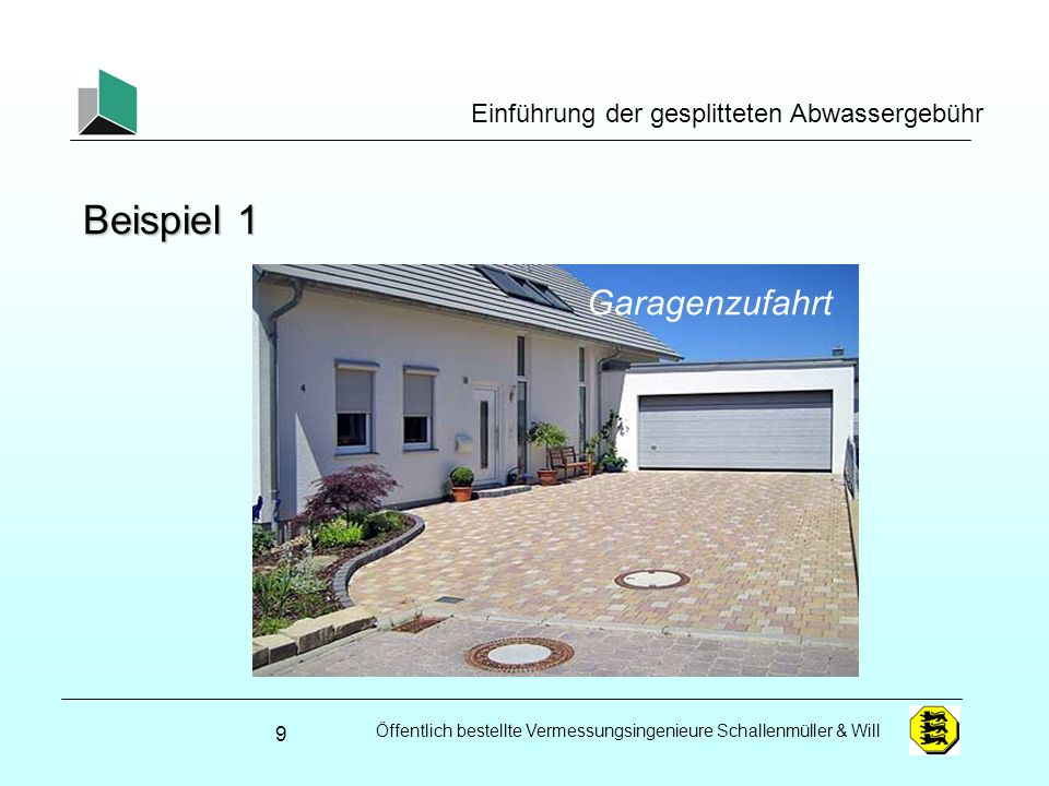 Beispiel 1 Garagenzufahrt Einführung der gesplitteten Abwassergebühr