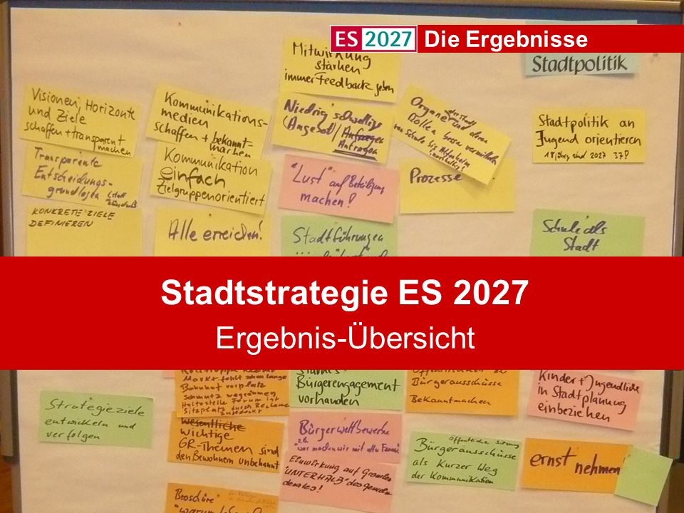 Stadtstrategie ES 2027 Ergebnis-Übersicht Die Ergebnisse