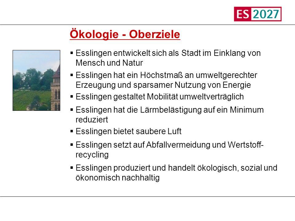 Titel Ökologie - Oberziele. Esslingen entwickelt sich als Stadt im Einklang von Mensch und Natur.