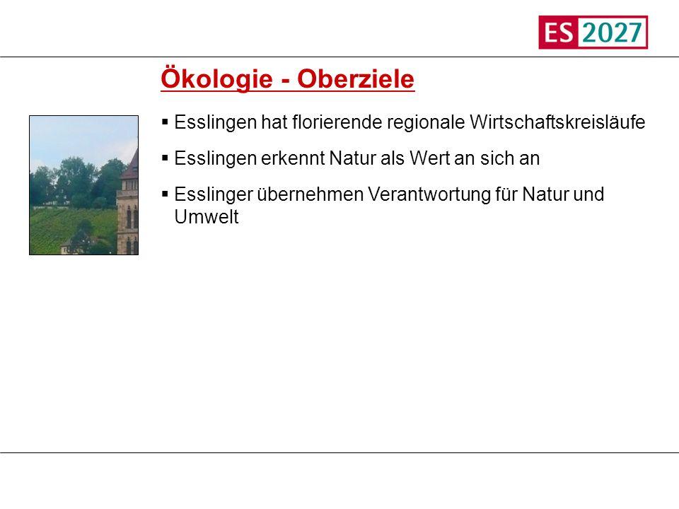 Titel Ökologie - Oberziele. Esslingen hat florierende regionale Wirtschaftskreisläufe. Esslingen erkennt Natur als Wert an sich an.