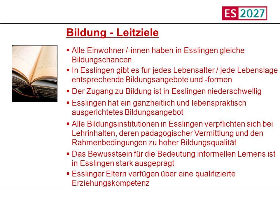 Titel Bildung - Leitziele. Alle Einwohner /-innen haben in Esslingen gleiche Bildungschancen.