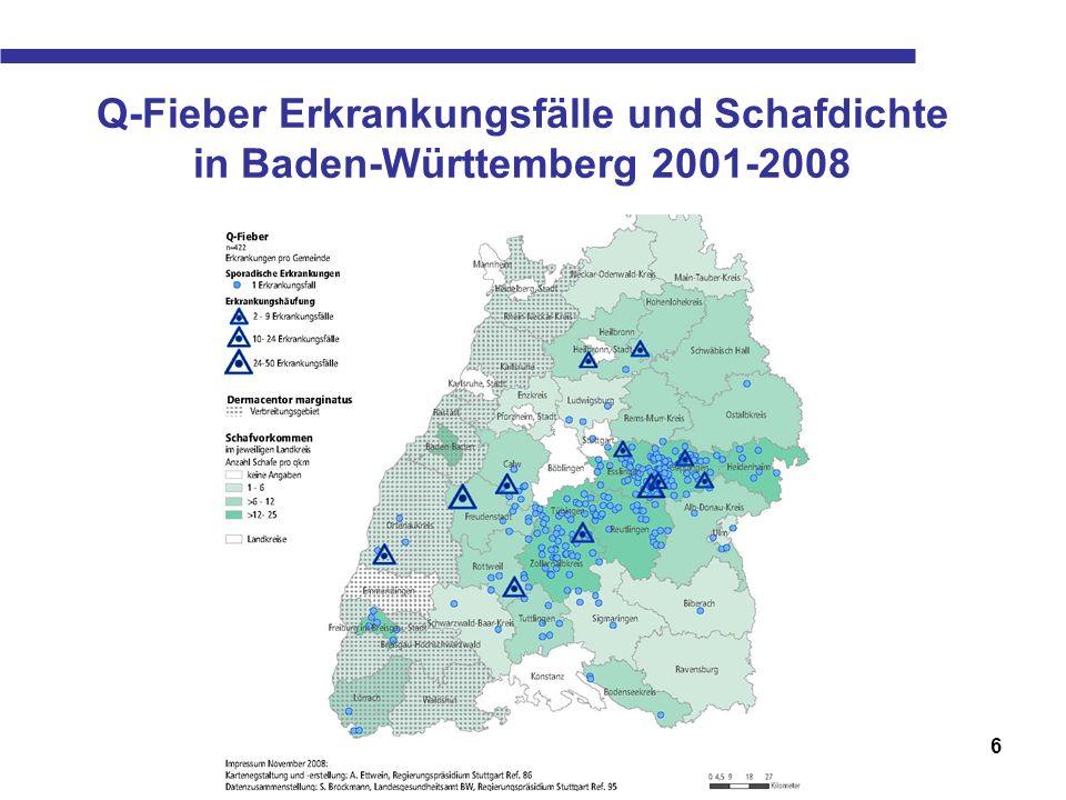 Q-Fieber Erkrankungsfälle und Schafdichte in Baden-Württemberg 2001-2008