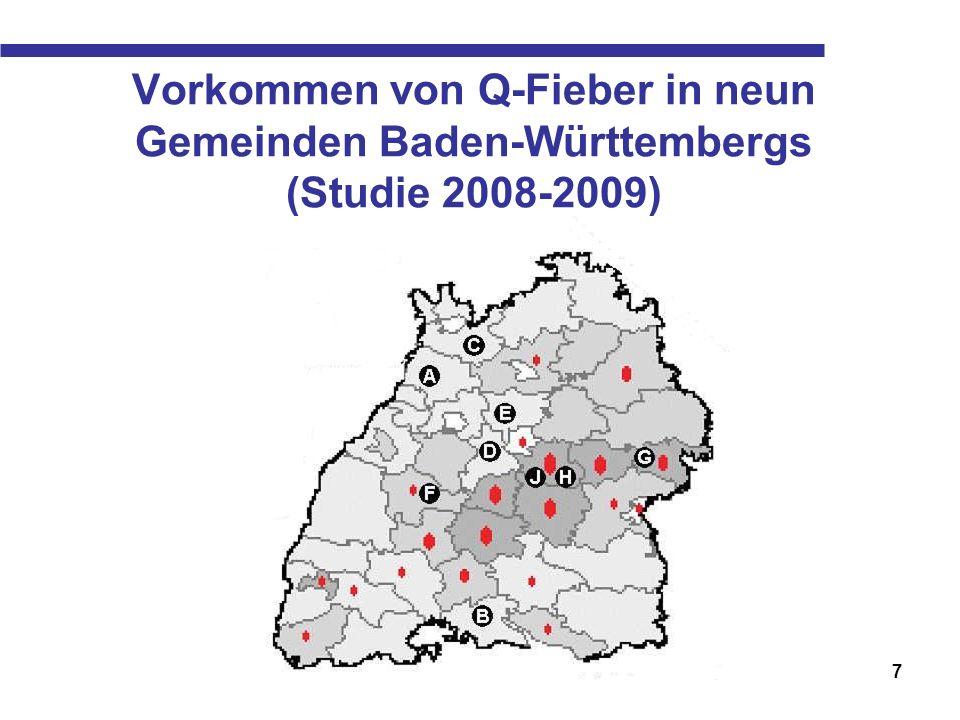 Vorkommen von Q-Fieber in neun Gemeinden Baden-Württembergs (Studie 2008-2009)