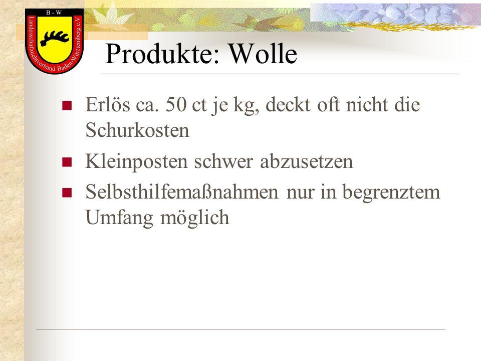 Produkte: Wolle Erlös ca. 50 ct je kg, deckt oft nicht die Schurkosten