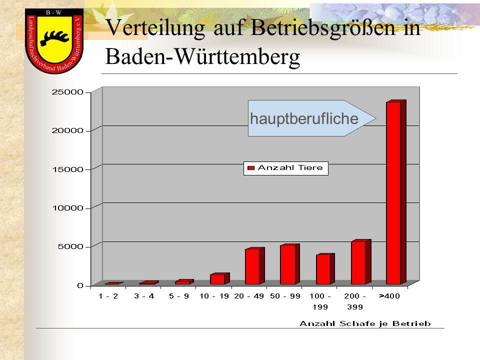 Verteilung auf Betriebsgrößen in Baden-Württemberg