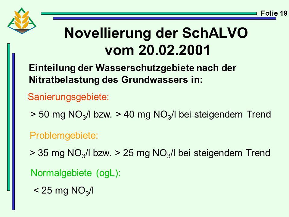 Novellierung der SchALVO vom 20.02.2001