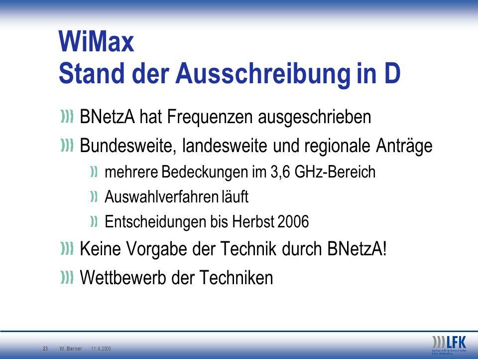 WiMax Stand der Ausschreibung in D