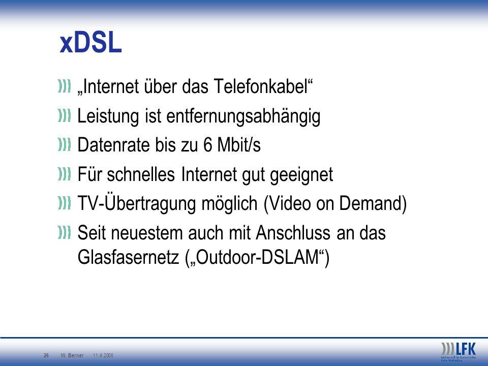 """xDSL """"Internet über das Telefonkabel Leistung ist entfernungsabhängig"""