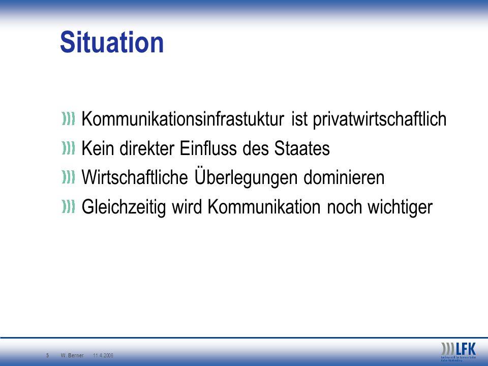 Situation Kommunikationsinfrastuktur ist privatwirtschaftlich