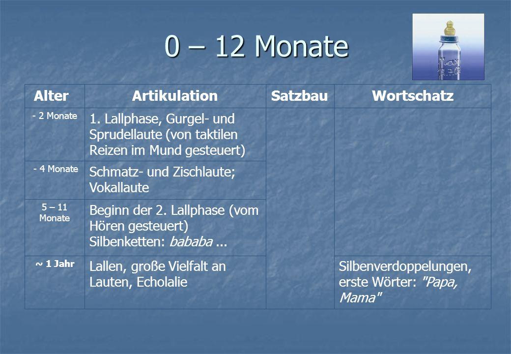 0 – 12 Monate Alter Artikulation Satzbau Wortschatz
