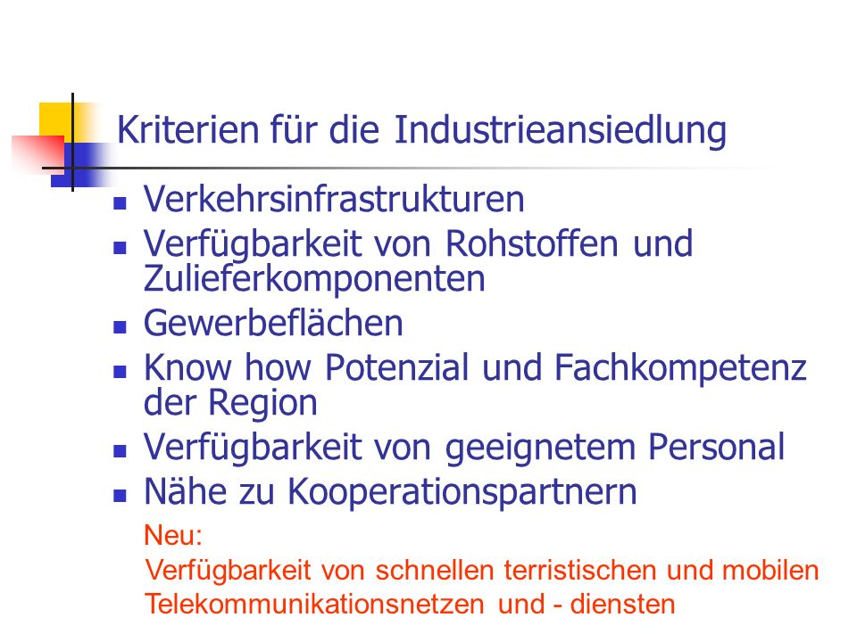 Kriterien für die Industrieansiedlung