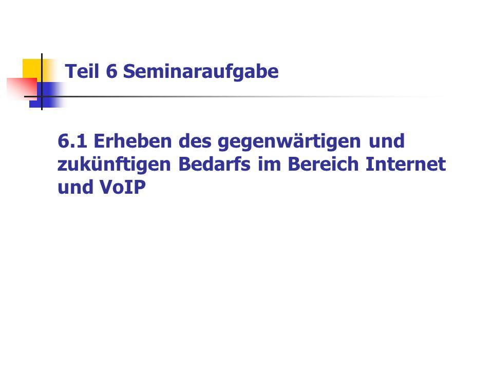 Teil 6 Seminaraufgabe 6.1 Erheben des gegenwärtigen und zukünftigen Bedarfs im Bereich Internet und VoIP