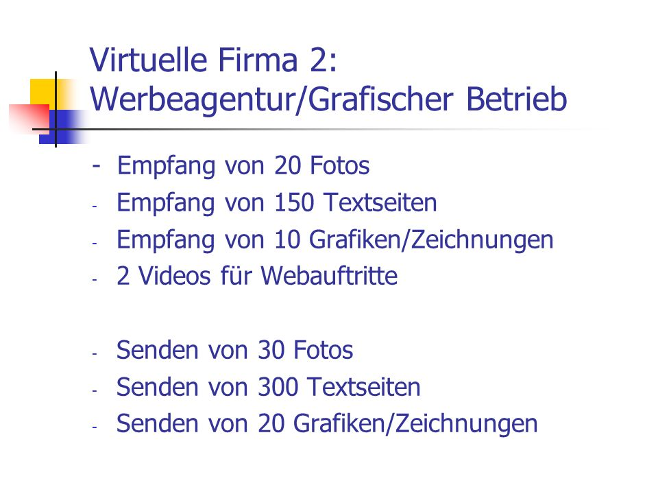 Virtuelle Firma 2: Werbeagentur/Grafischer Betrieb