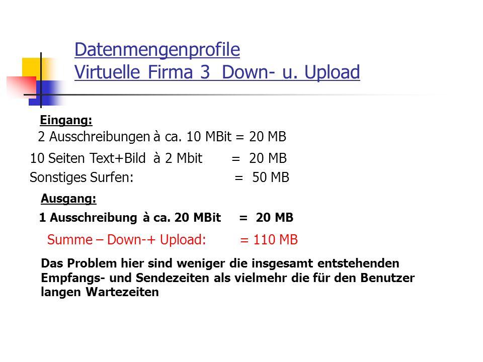 Datenmengenprofile Virtuelle Firma 3 Down- u. Upload