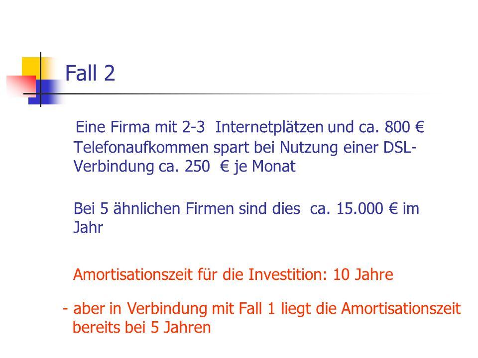 Fall 2Eine Firma mit 2-3 Internetplätzen und ca. 800 € Telefonaufkommen spart bei Nutzung einer DSL-Verbindung ca. 250 € je Monat.