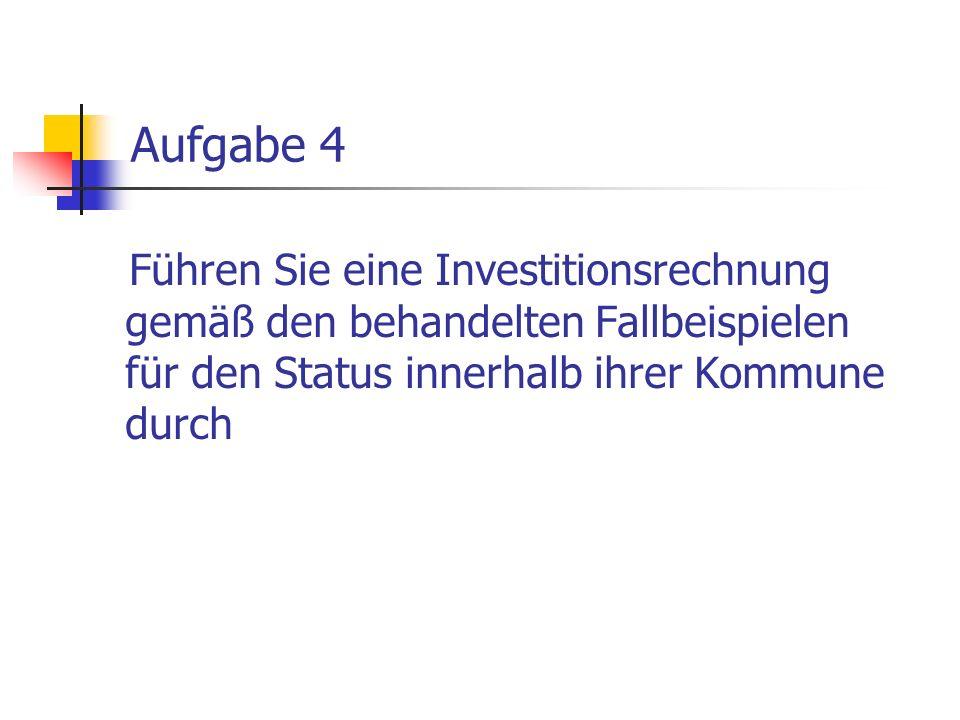 Aufgabe 4Führen Sie eine Investitionsrechnung gemäß den behandelten Fallbeispielen für den Status innerhalb ihrer Kommune durch.