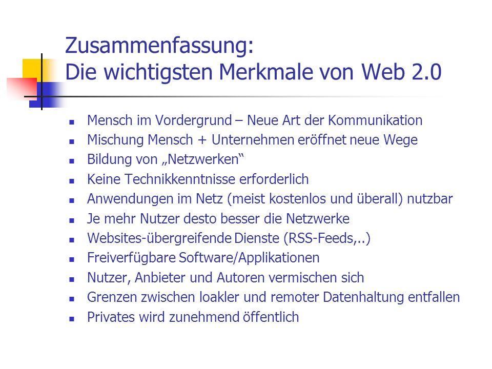 Zusammenfassung: Die wichtigsten Merkmale von Web 2.0