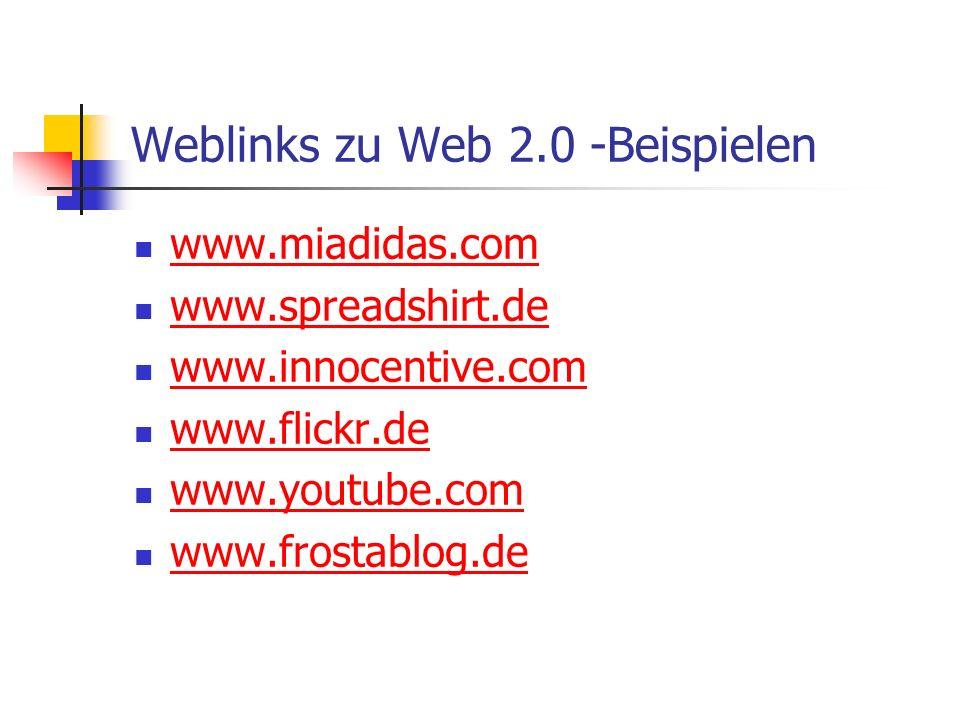 Weblinks zu Web 2.0 -Beispielen