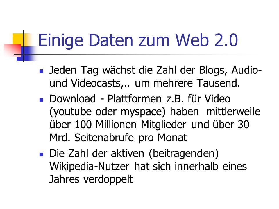 Einige Daten zum Web 2.0Jeden Tag wächst die Zahl der Blogs, Audio- und Videocasts,.. um mehrere Tausend.