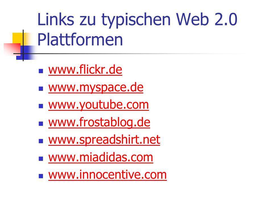 Links zu typischen Web 2.0 Plattformen