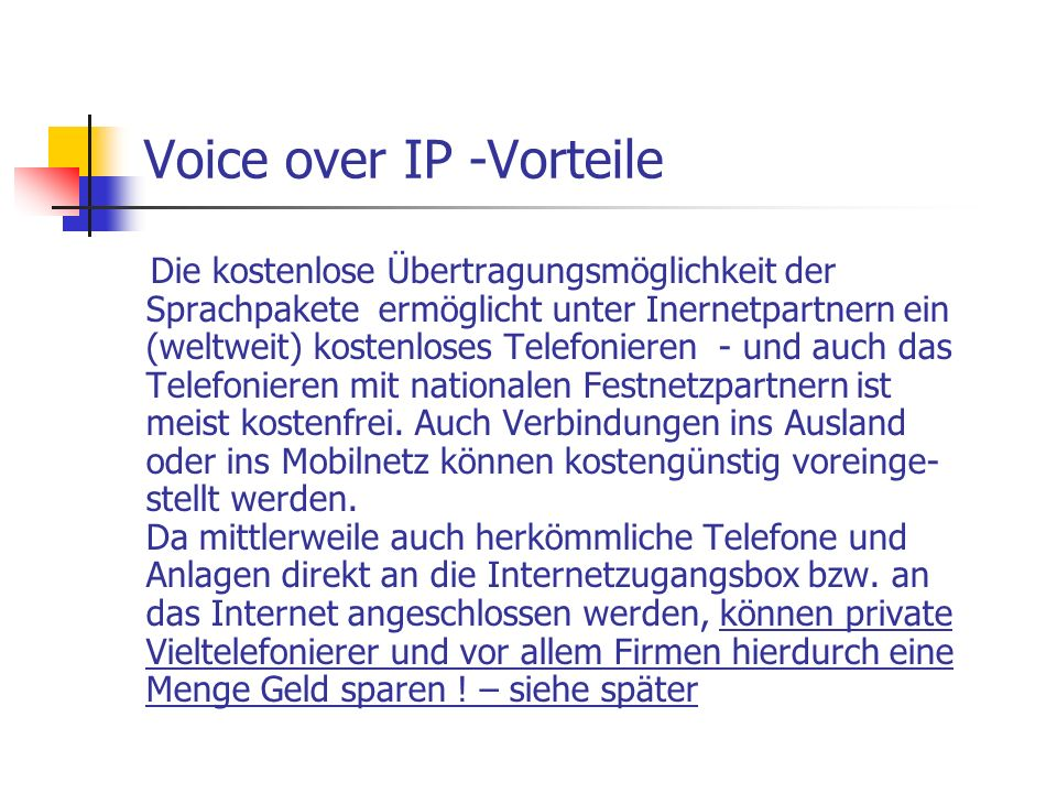 Voice over IP -Vorteile