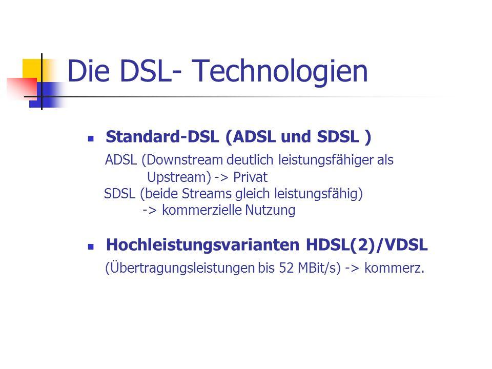 Die DSL- Technologien ADSL (Downstream deutlich leistungsfähiger als