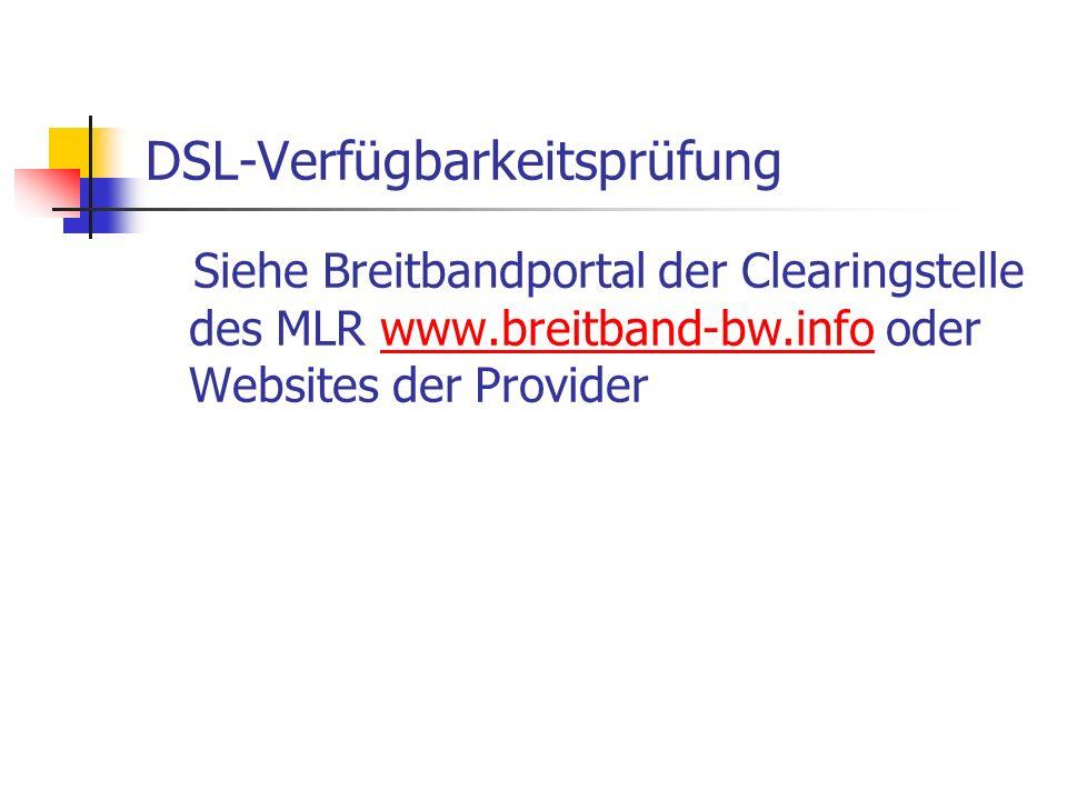 DSL-Verfügbarkeitsprüfung