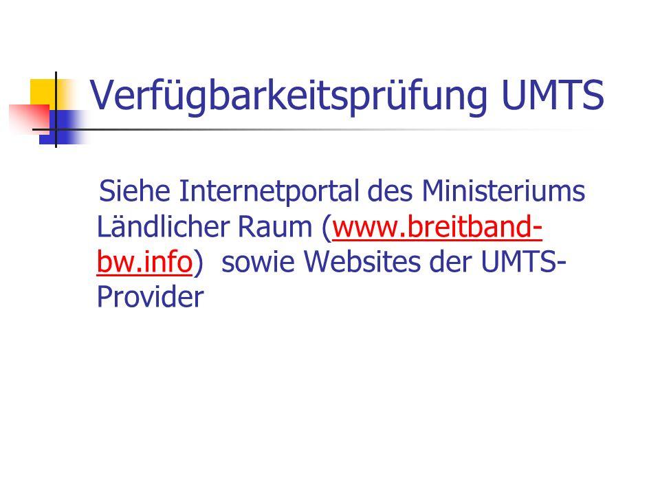 Verfügbarkeitsprüfung UMTS